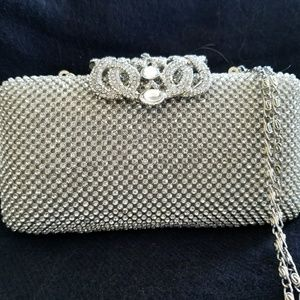 Handbags - Silver crystal clutch with jewel decor